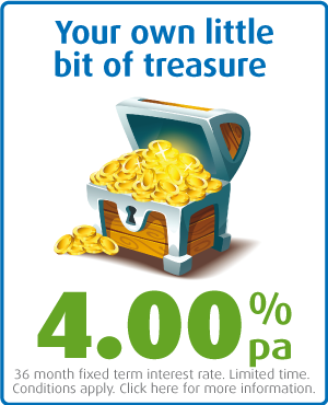 Your own little bit of treasure. 4.00% pa, 36 month fixed term.